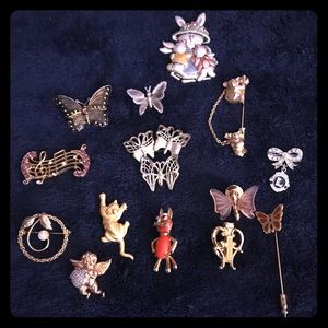 13 butterfly, cat, music and bunny brooches